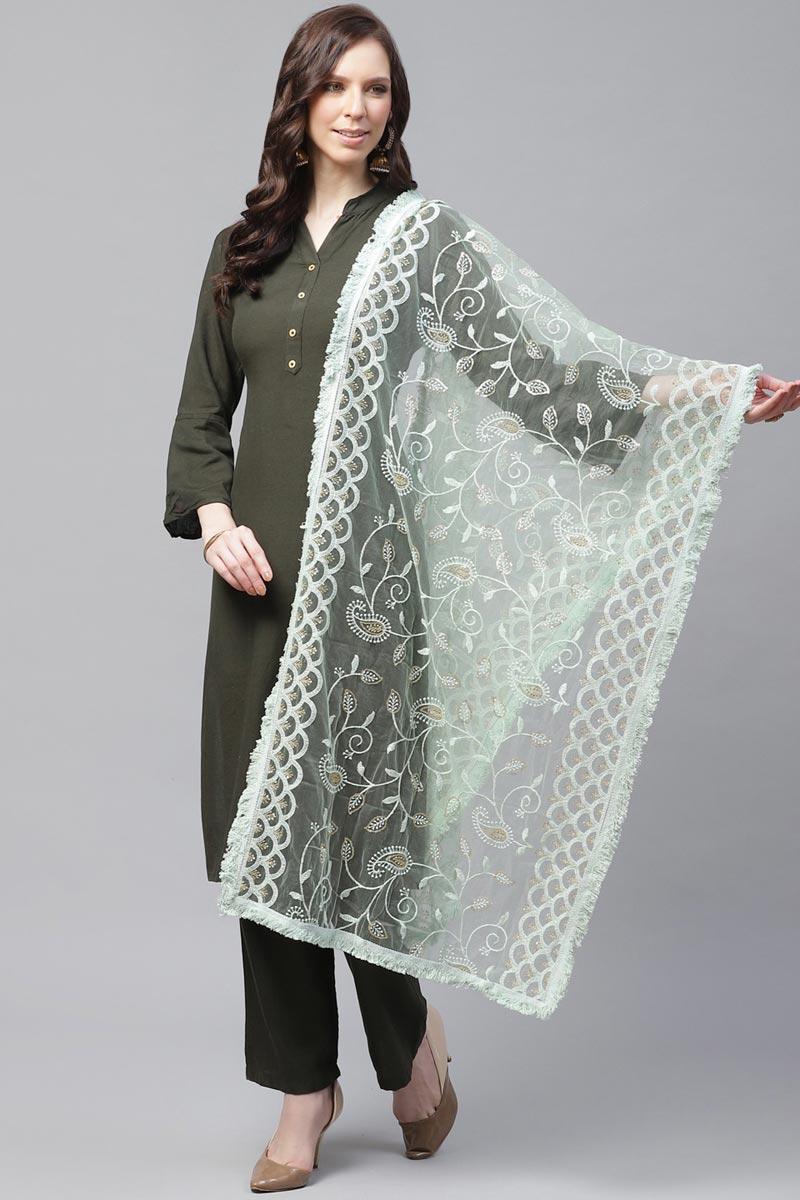Elegant Sea Green Color Festive Wear Net Fabric Thread Embroidered Dupatta