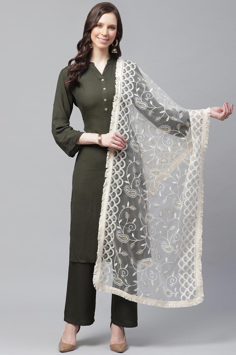 Festive Wear Elegant Off White Color Thread Embroidered Dupatta In Net Fabric