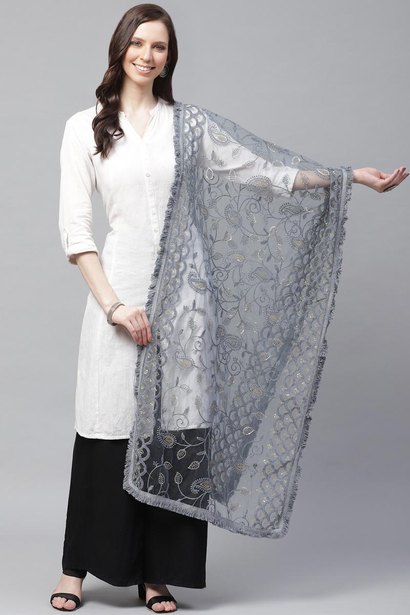 Festive Wear Net Fabric Grey Color Elegant Thread Embroidered Dupatta