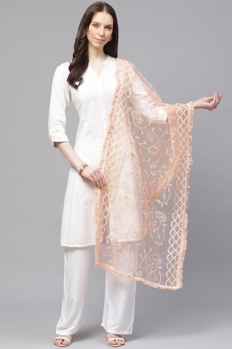 Elegant Peach Color Festive Wear Thread Embroidered Dupatta In Net Fabric