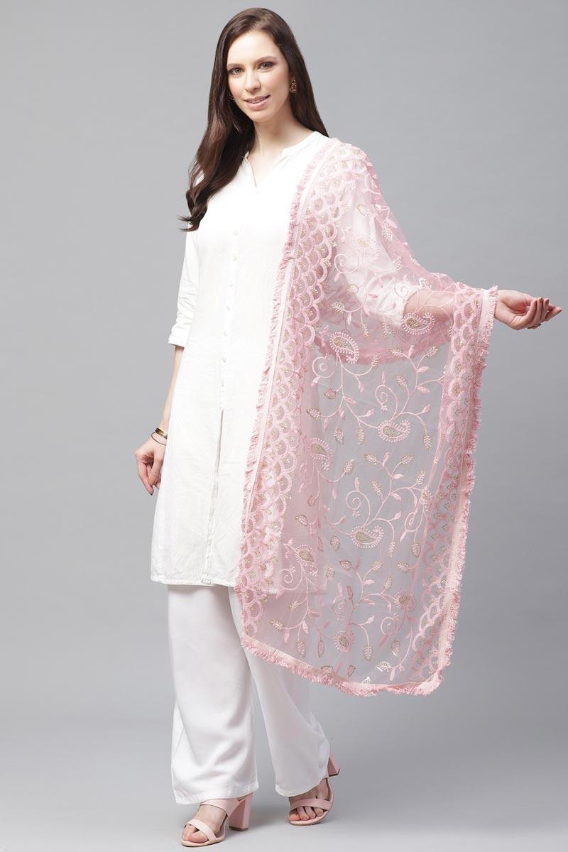 Festive Wear Elegant Pink Color Net Fabric Thread Embroidered Dupatta