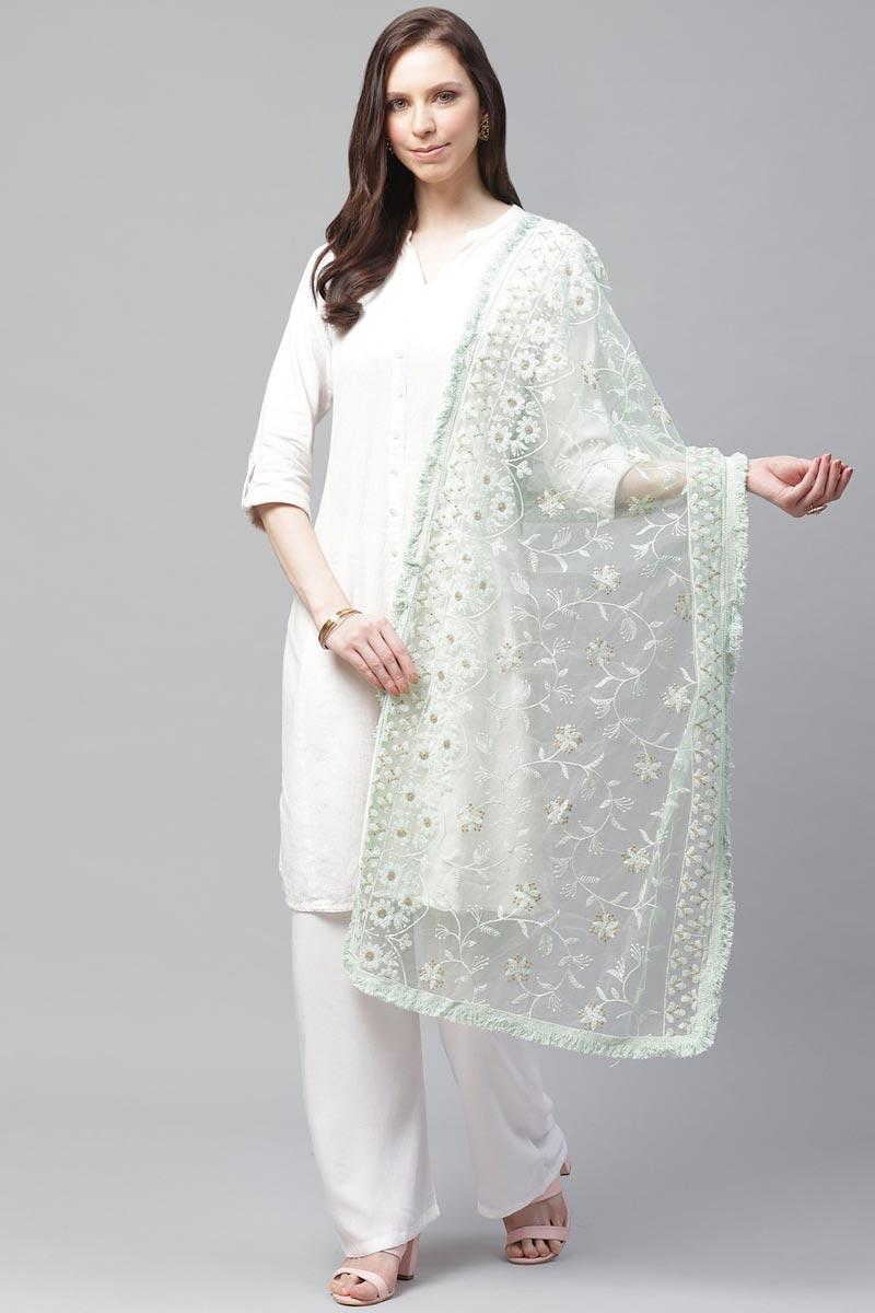 Elegant Net Fabric Festive Wear Sea Green Color Thread Embroidered Dupatta