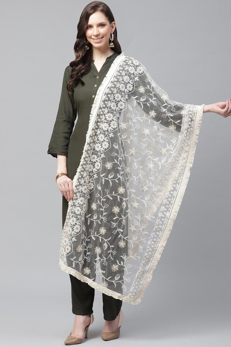 Festive Wear Elegant Net Fabric Thread Embroidered Dupatta In Off White Color
