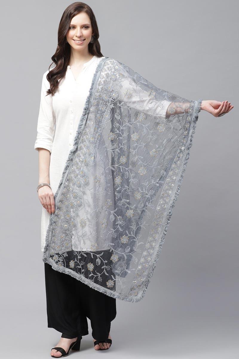 Festive Wear Grey Color Elegant Net Fabric Thread Embroidered Dupatta