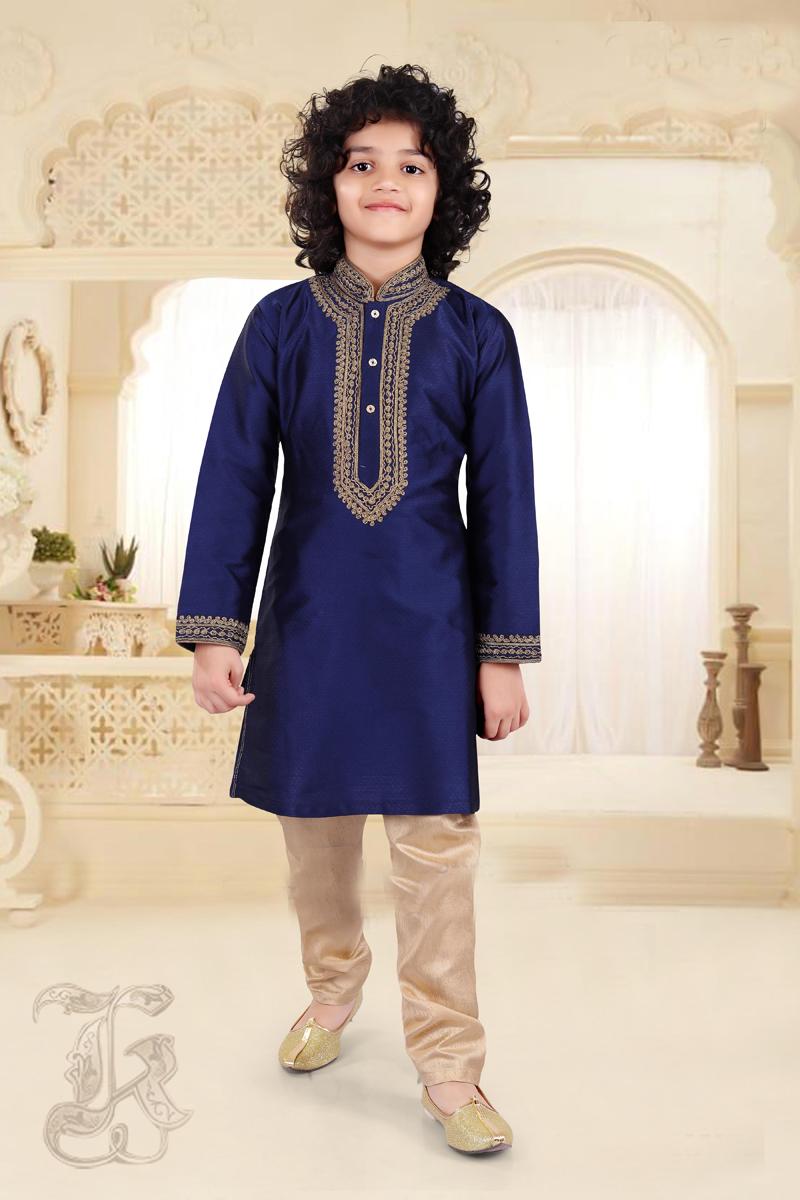 Function Wear Art Silk Fabric Kurta Pyjama For Boys In Blue Color