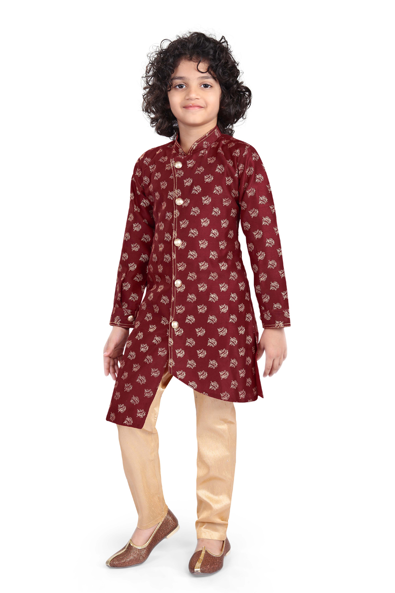 Maroon Color Function Wear Chanderi Silk Fabric Indo Western For Boys