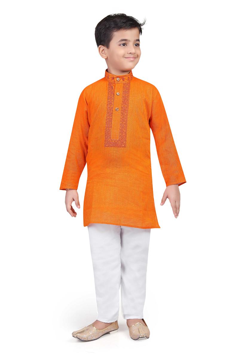 Cotton Fabric Orange Color Traditional Wear Boys Kurta Pyjama