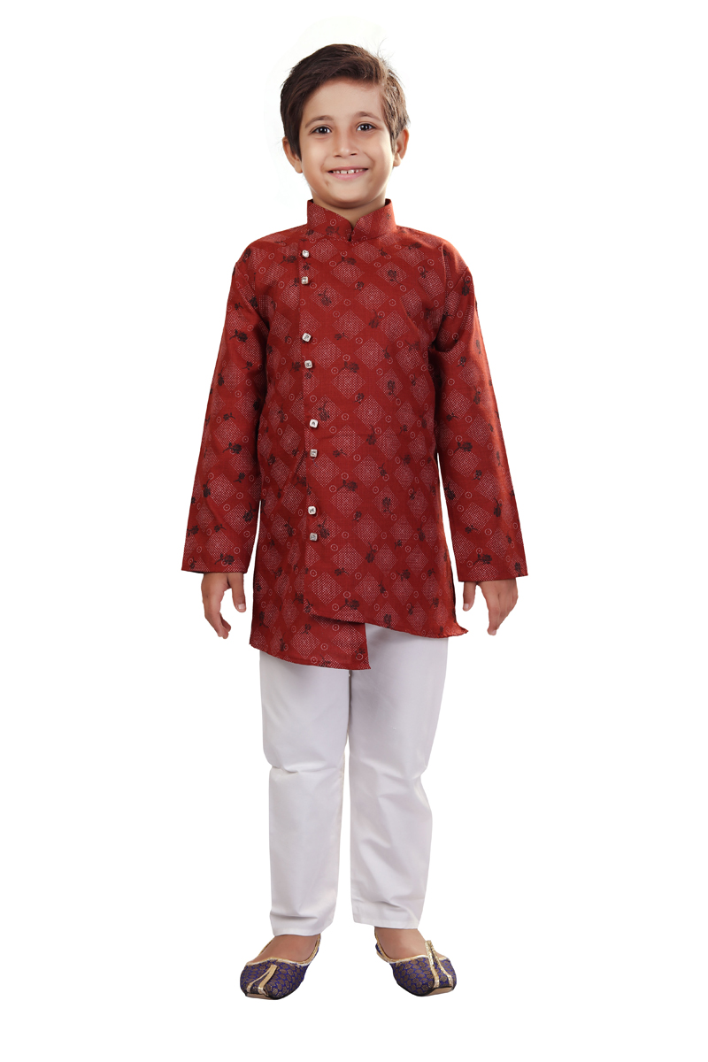 Maroon Color Traditional Wear Cotton Fabric Indo Western For Boys