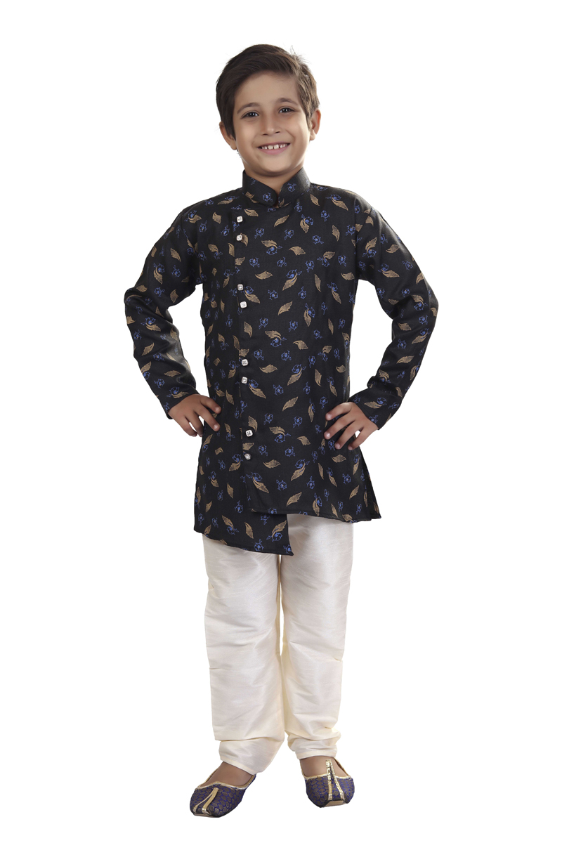 Traditional Wear Cotton Fabric Indo Western For Boys In Black Color
