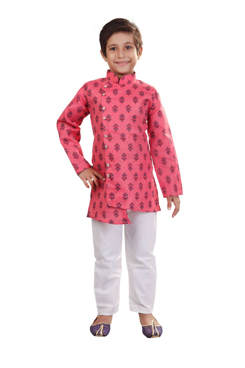 Occasion Wear Indo Western For Boys In Pink Color Cotton Fabric