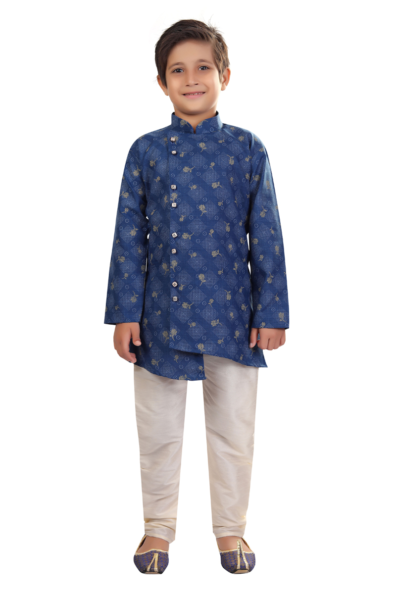 Occasion Wear Blue Color Cotton Fabric Boys Indo Western