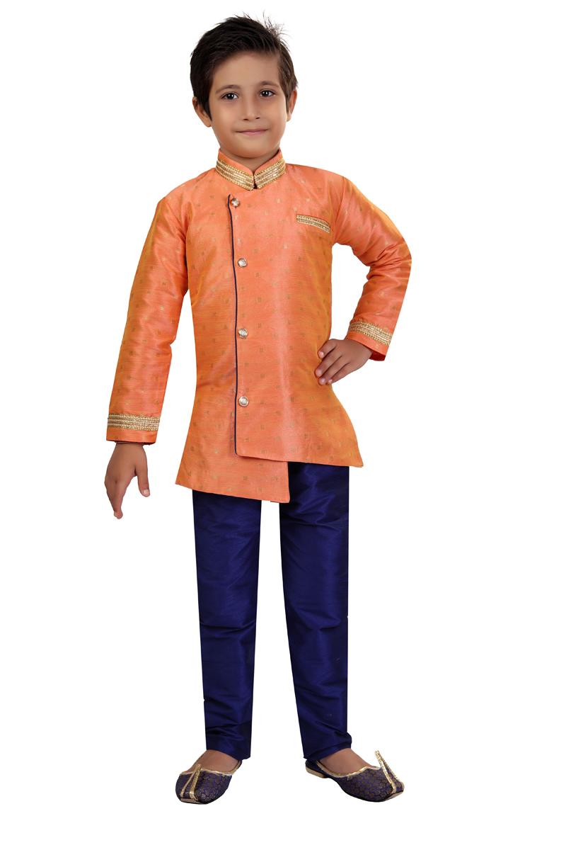 Peach Color Occasion Wear Art Silk Fabric Indo Western For Boys