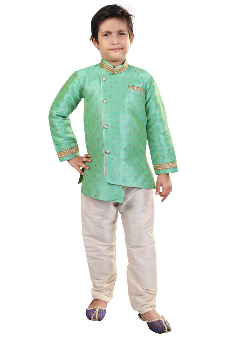 Occasion Wear Art Silk Fabric Indo Western For Boys In Sea Green Color
