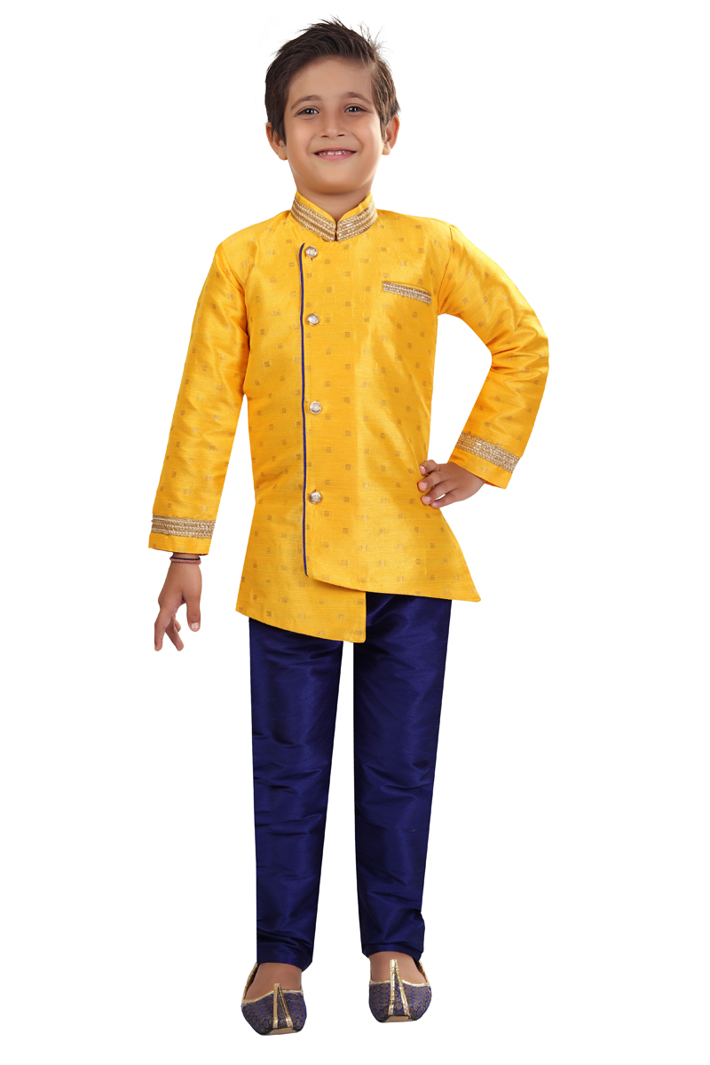 Yellow Color Art Silk Fabric Sangeet Function Wear Boys Indo Western