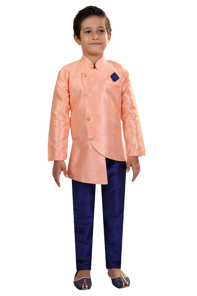Sangeet Function Wear Pink Color Art Silk Fabric Indo Western For Boys