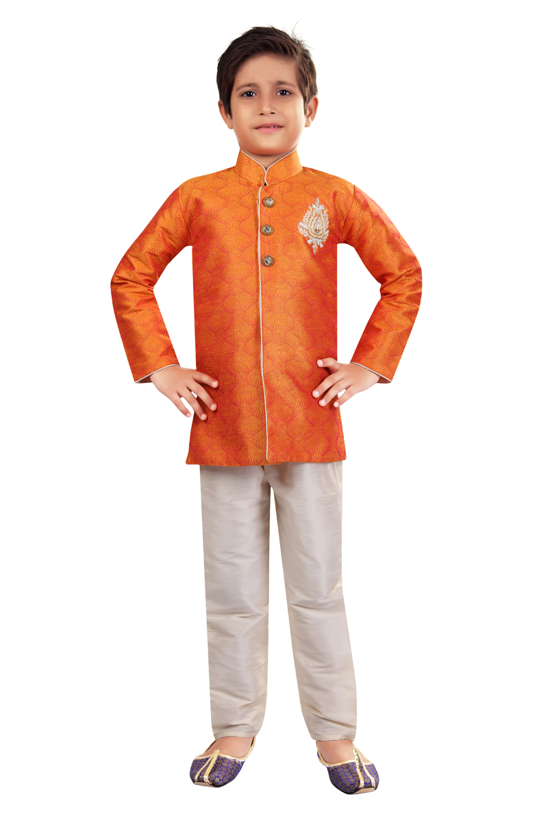 Function Wear Indo Western For Boys In Orange Color