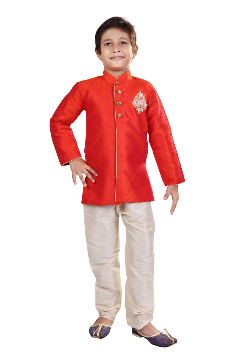 Function Wear Art Silk Fabric Indo Western For Boys