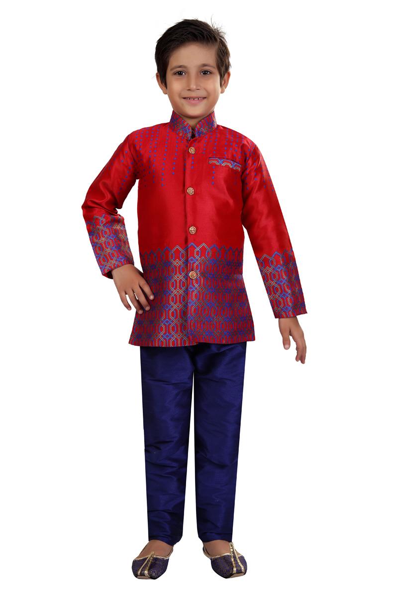 Sangeet Function Wear Jacquard Silk Fabric Indo Western For Boys