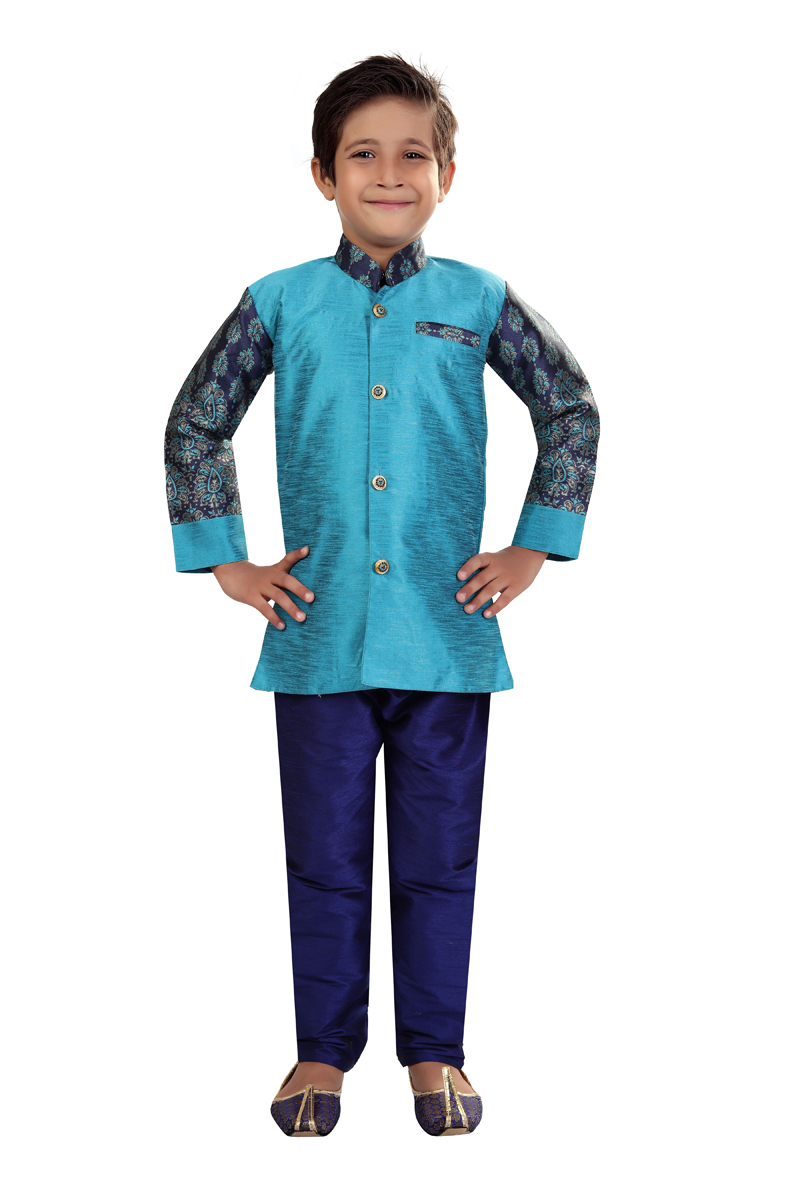 Traditional Wear Sky Blue Color Indo Western For Boys