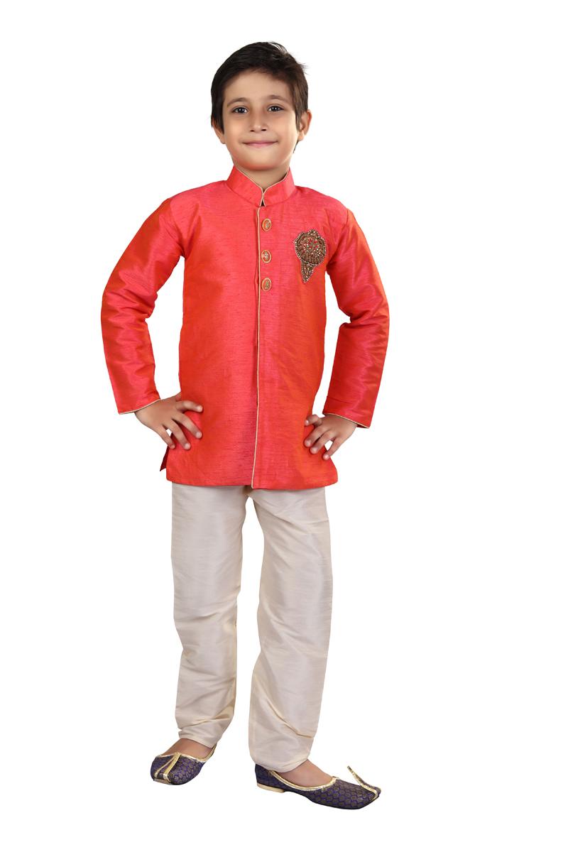 Traditional Wear Art Silk Fabric Indo Western For Boys