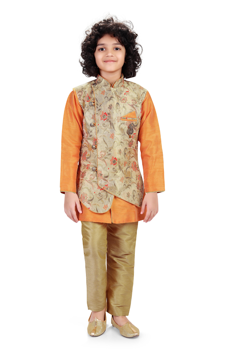Function Wear Art Silk Fabric Kurta Pyjama For Boys With Jacket