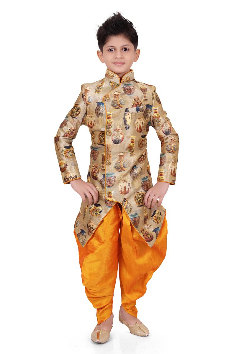 Art Silk Fabric Fancy Cream Color Function Wear Boys Dhoti Style Indo Western
