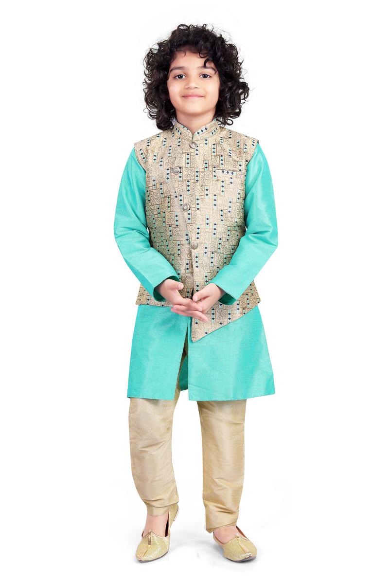 Sangeet Function Wear Art Silk Fabric Light Teal Color Kurta Pyjama For Boys With Fancy Jacket