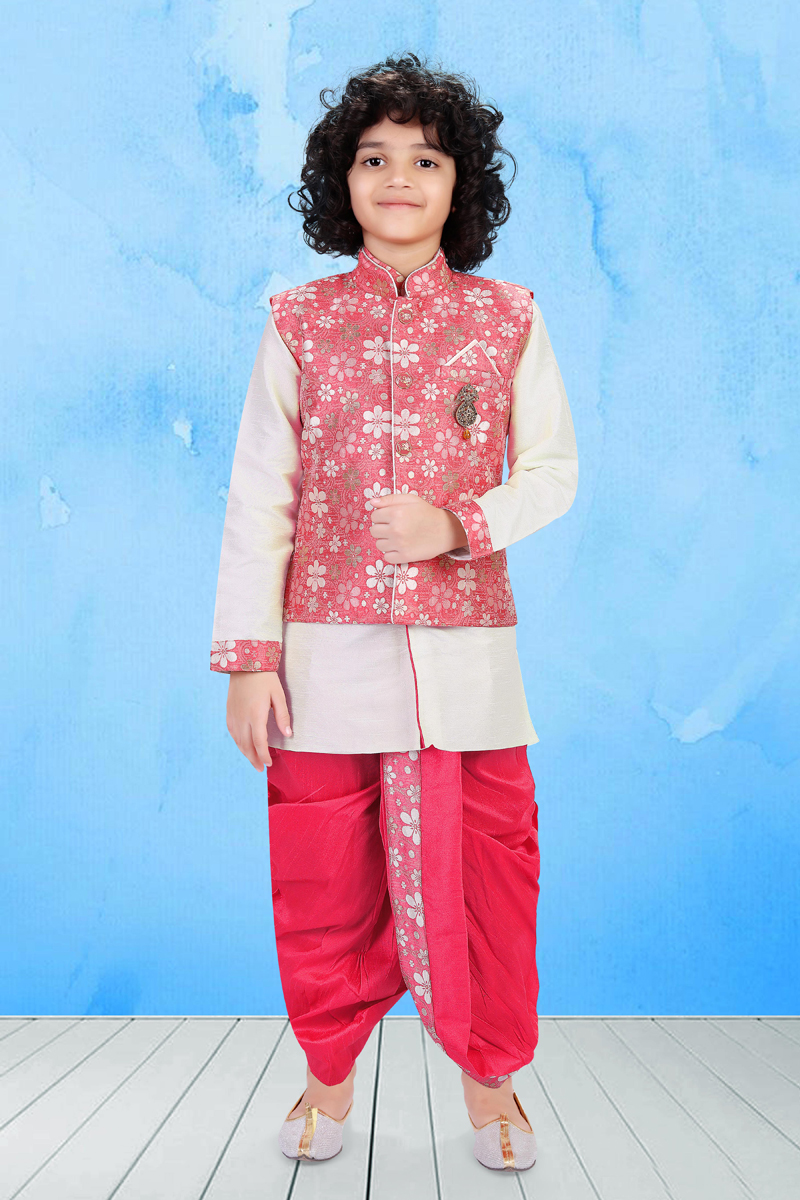 Art Silk Fabric Off White Color Traditional Wear Boys Dhoti Style Indo Western With Designer Jacket