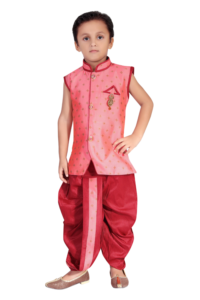Traditional Wear Art Silk Fabric Dhoti Style Indo Western For Boys In Pink Color