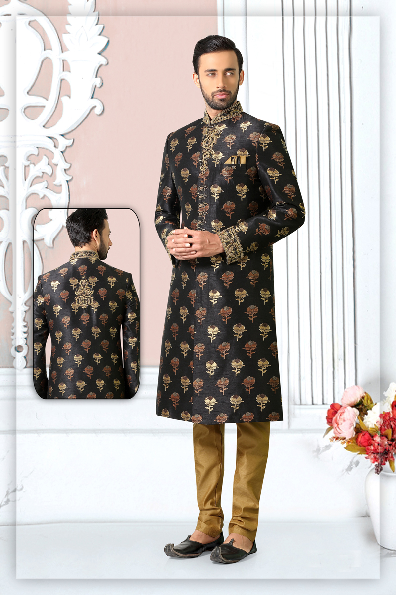 Mens Function Wear Brocade Fabric Black Color Indowestern