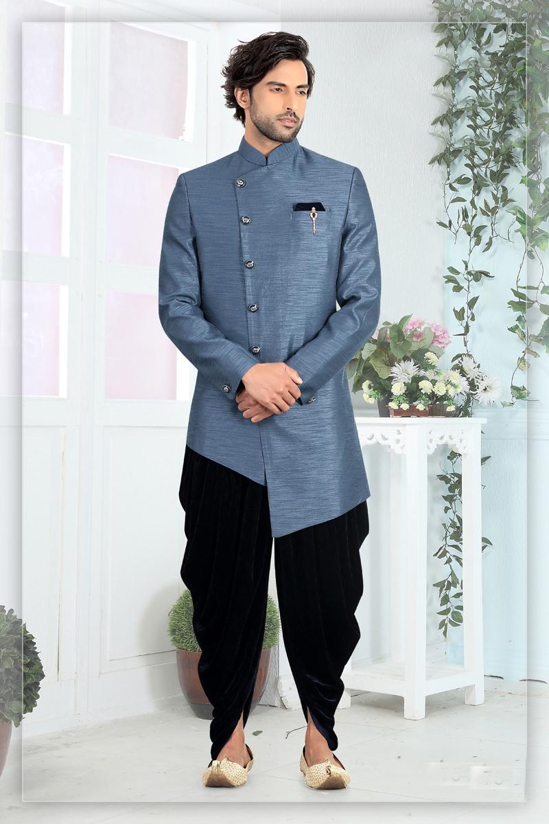Mens Function Wear Art Silk Fabric Grey Color Dhoti Style Indowestern