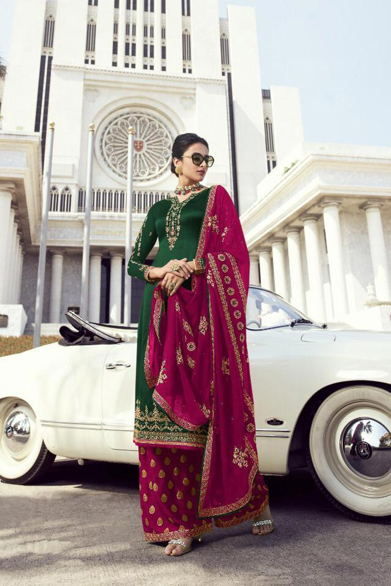Festive Wear Classy Georgette Fabric Dark Green Embroidered Palazzo Suit