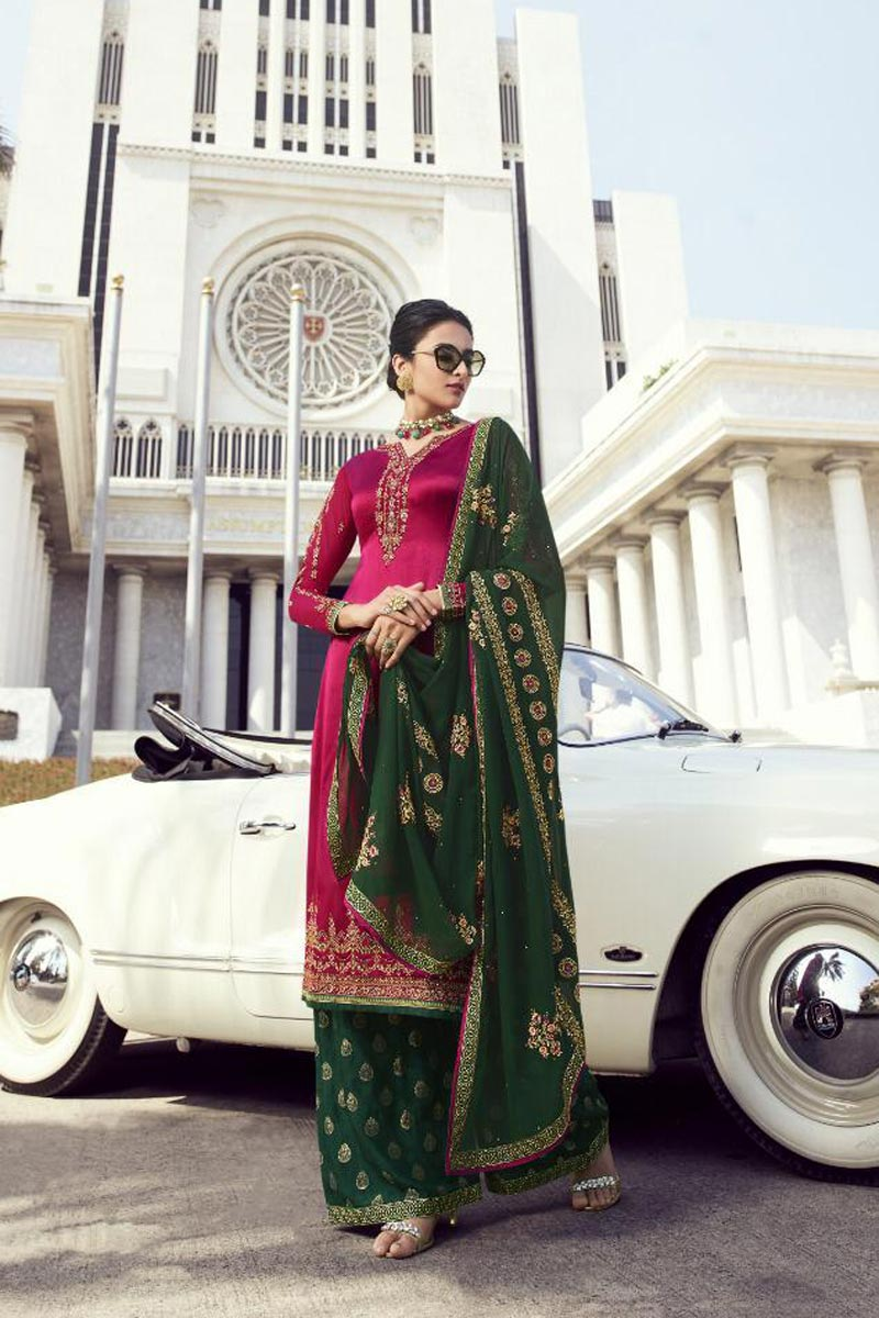 Festive Wear Pink Classy Embroidered Georgette Fabric Palazzo Suit