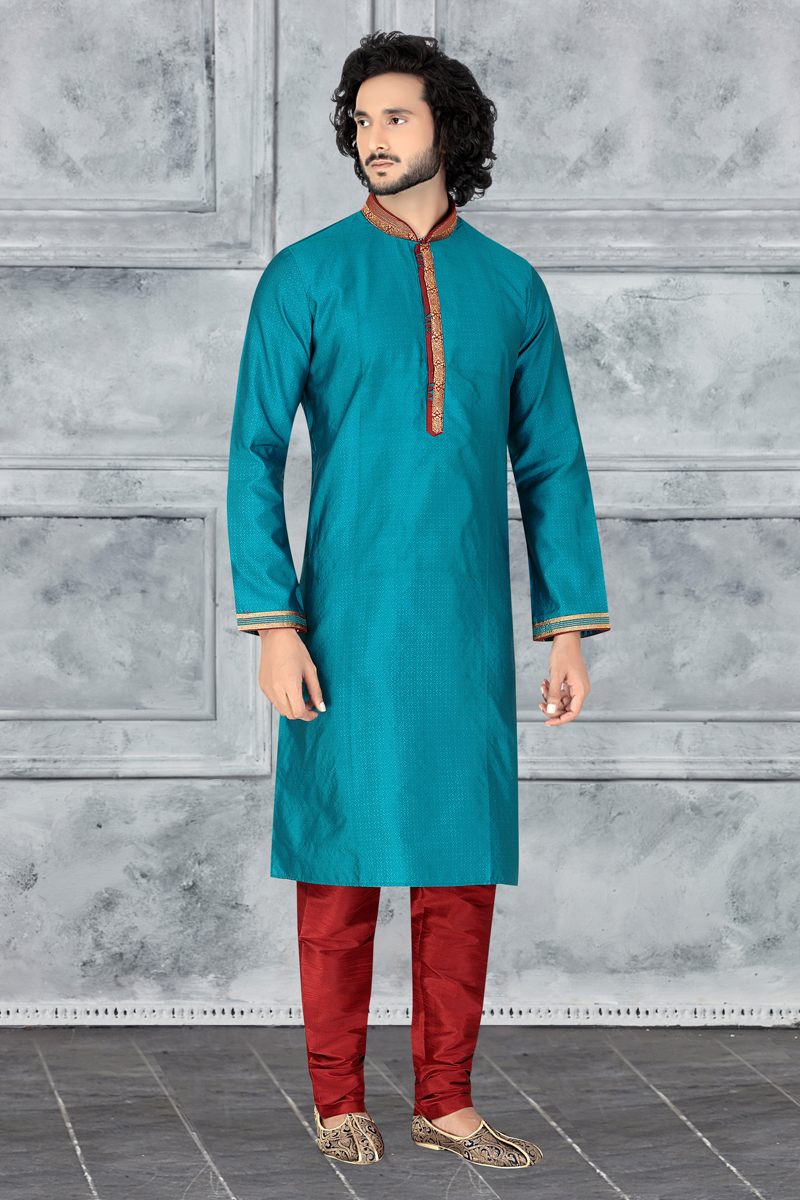 Function Wear Jacquard Fabric Kurta Pyjama In Dark Cyan Color For Men