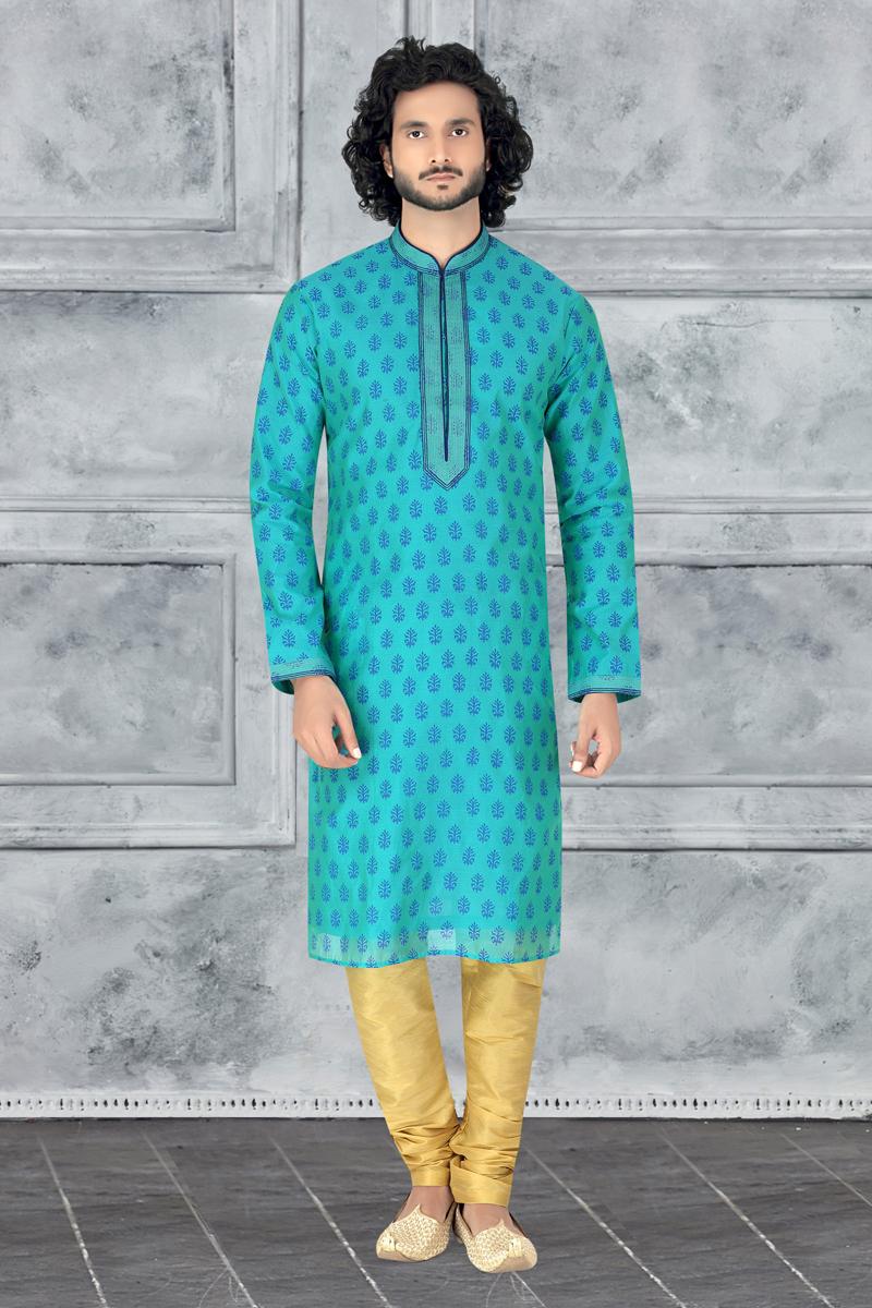 Turquoise Color Fancy Fabric Designer Kurta Pyjama