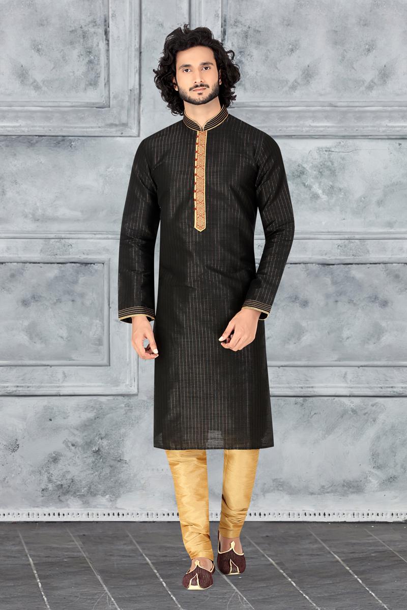 Art Silk Fabric Festive Wear Stylish Kurta Pyjama In Black Color
