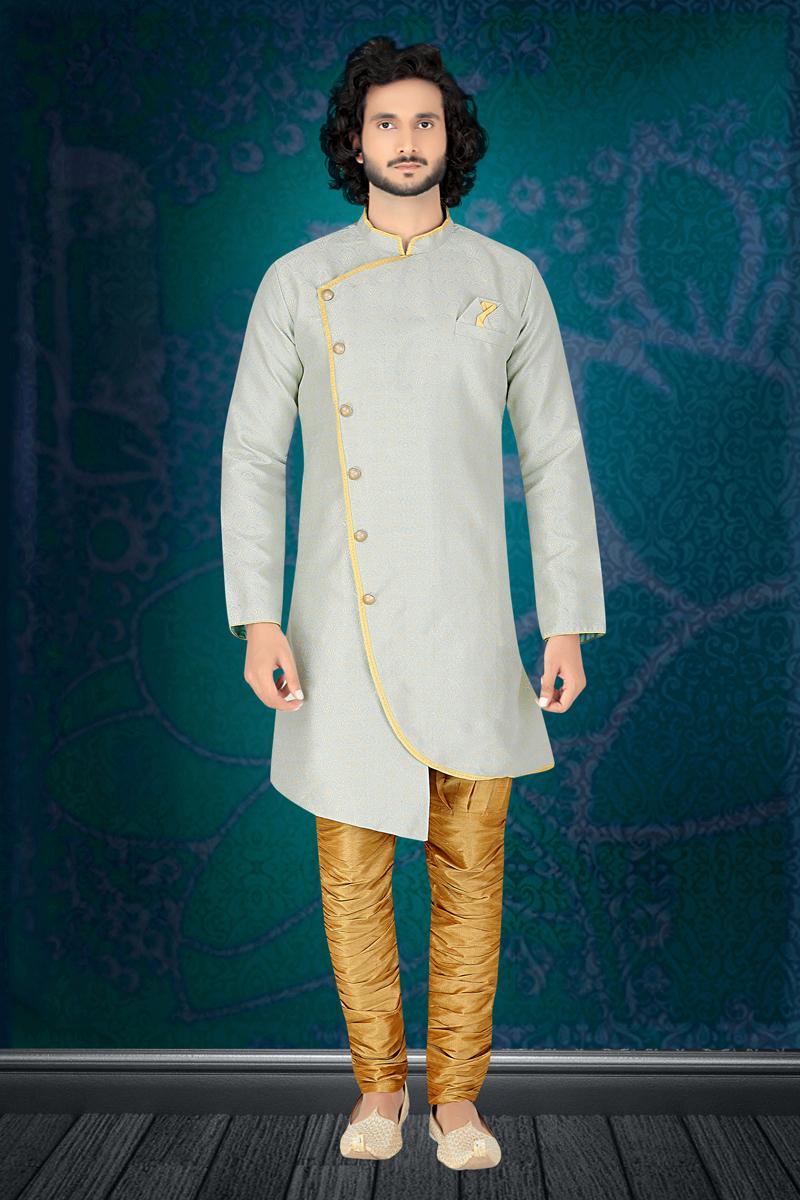 Jacquard Fabric Festive Wear Indowestern In Light Grey Color