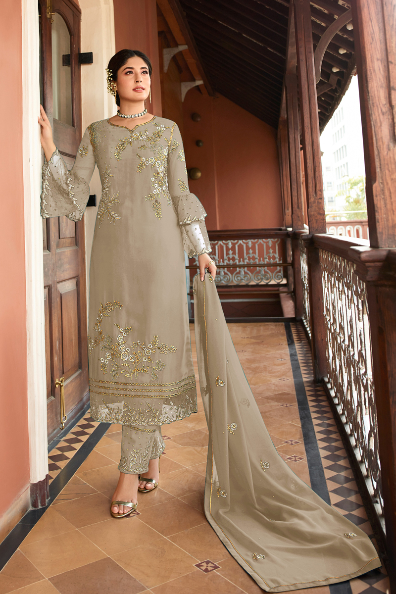 Kritika Kamra Dark Beige Color Embroidered Straight Cut Salwar Kameez