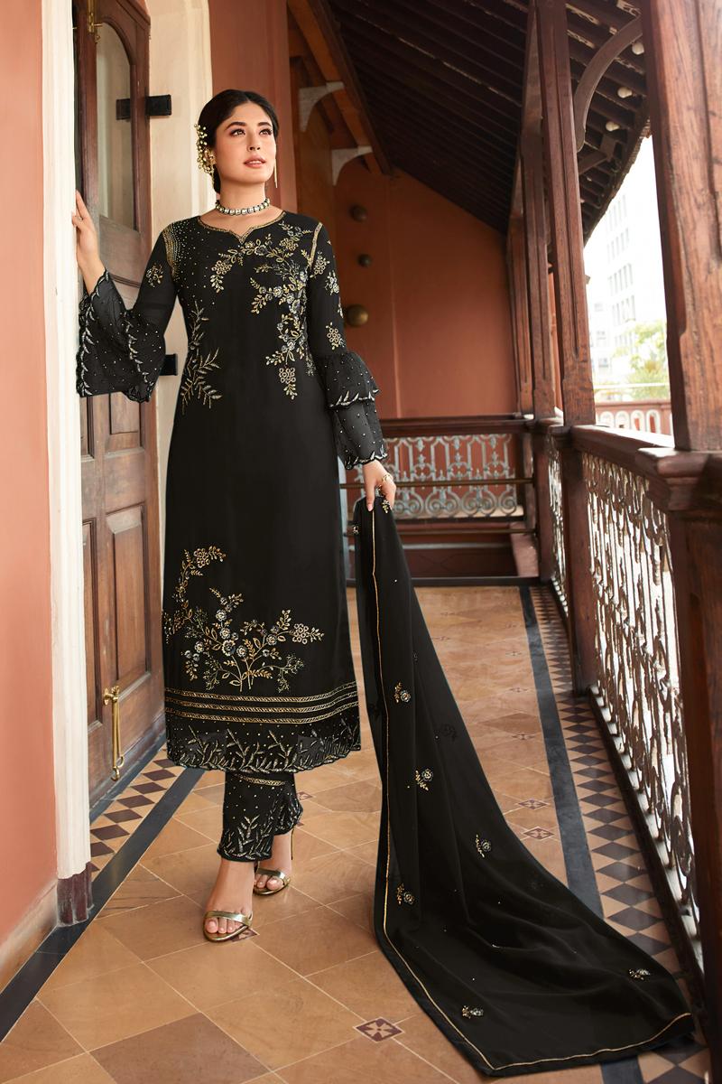 Kritika Kamra Satin Georgette Fabric Party Wear Straight Cut Salwar Suit
