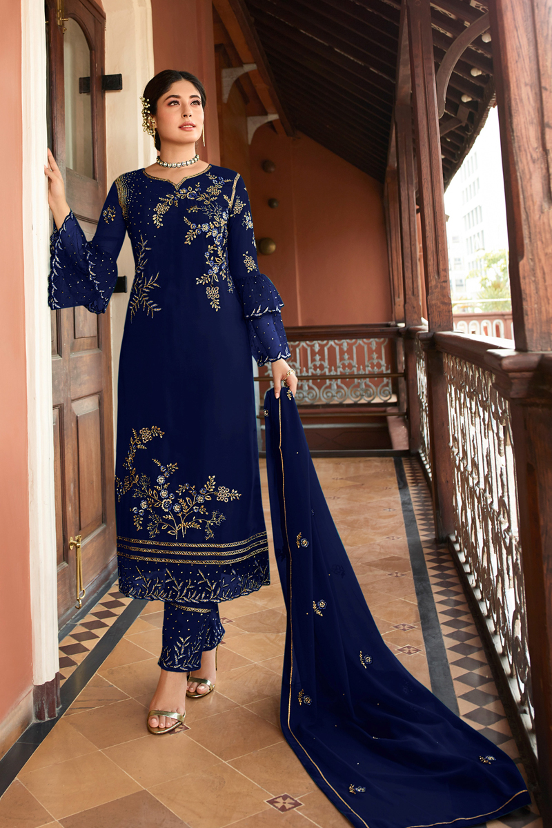 Kritika Kamra Blue Color Satin Georgette Fabric Function Wear Embroidered Straight Cut Suit