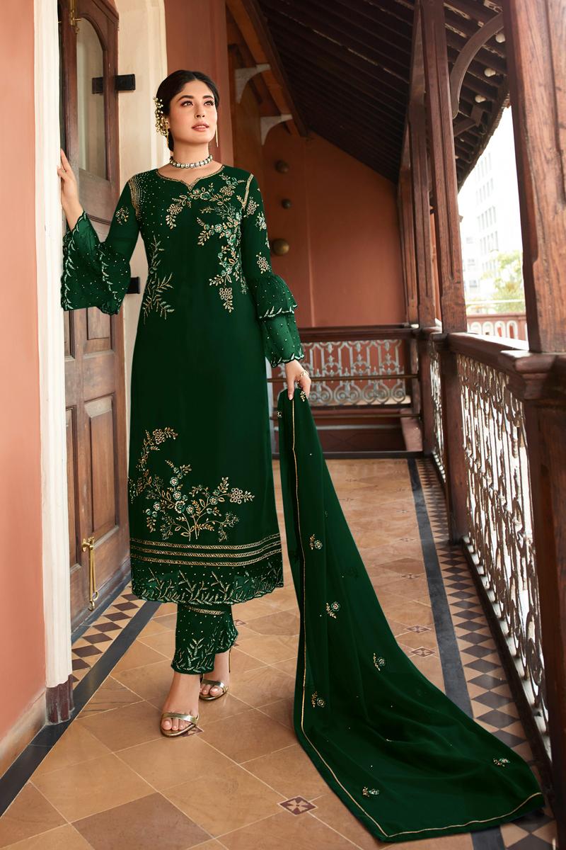 Kritika Kamra Occasion Wear Dark Green Color Embroidered Straight Cut Salwar Kameez