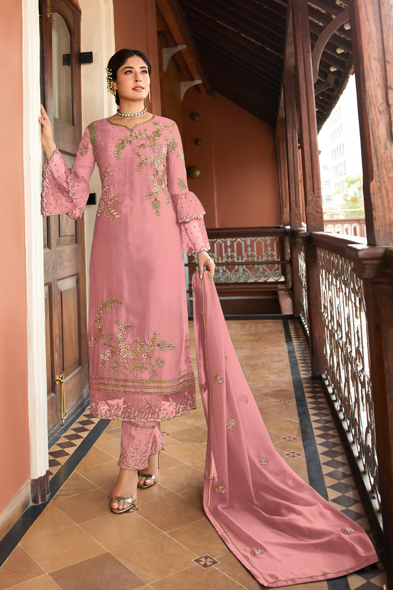 Kritika Kamra Embroidery Work Pink Color Satin Georgette Fabric Straight Cut Salwar Suit