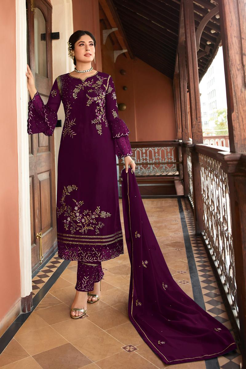 Kritika Kamra Satin Georgette Fabric Purple Color Straight Cut Suit