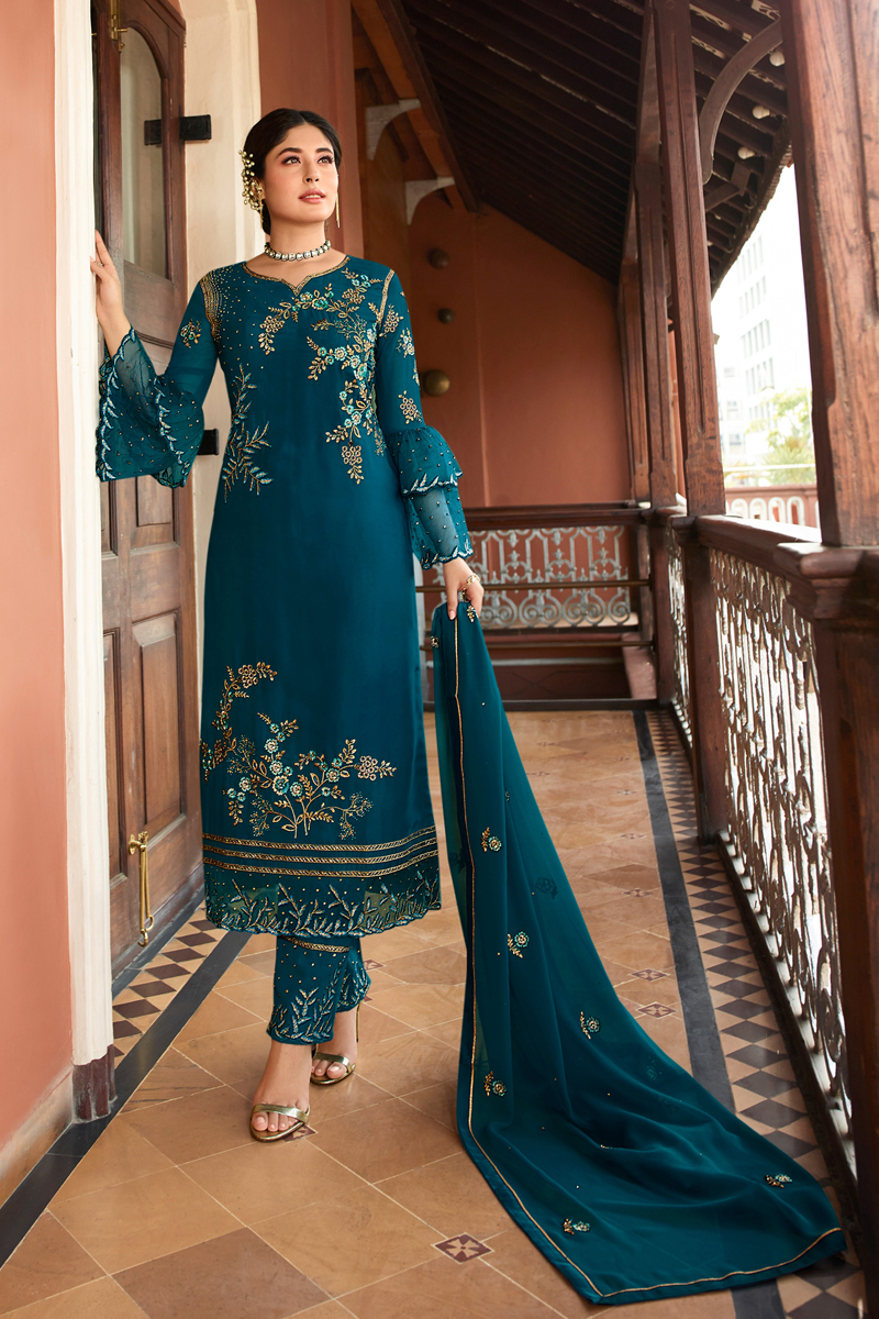 Kritika Kamra Teal Color Embroidered Satin Georgette Fabric Party Wear Straight Cut Salwar Kameez