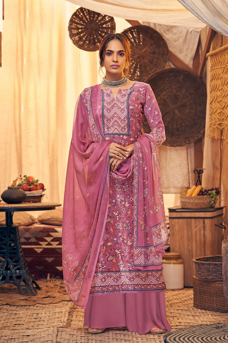 Occasion Wear Pink Color Printed Palazzo Salwar Kameez