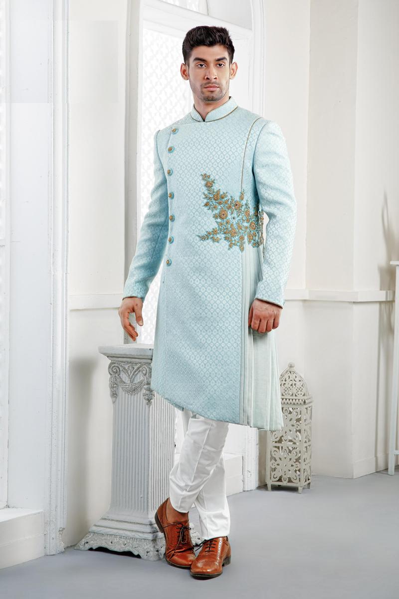 Jacquard Fabric Sky Blue Color Wedding Wear Indowestern Groom Sherwani