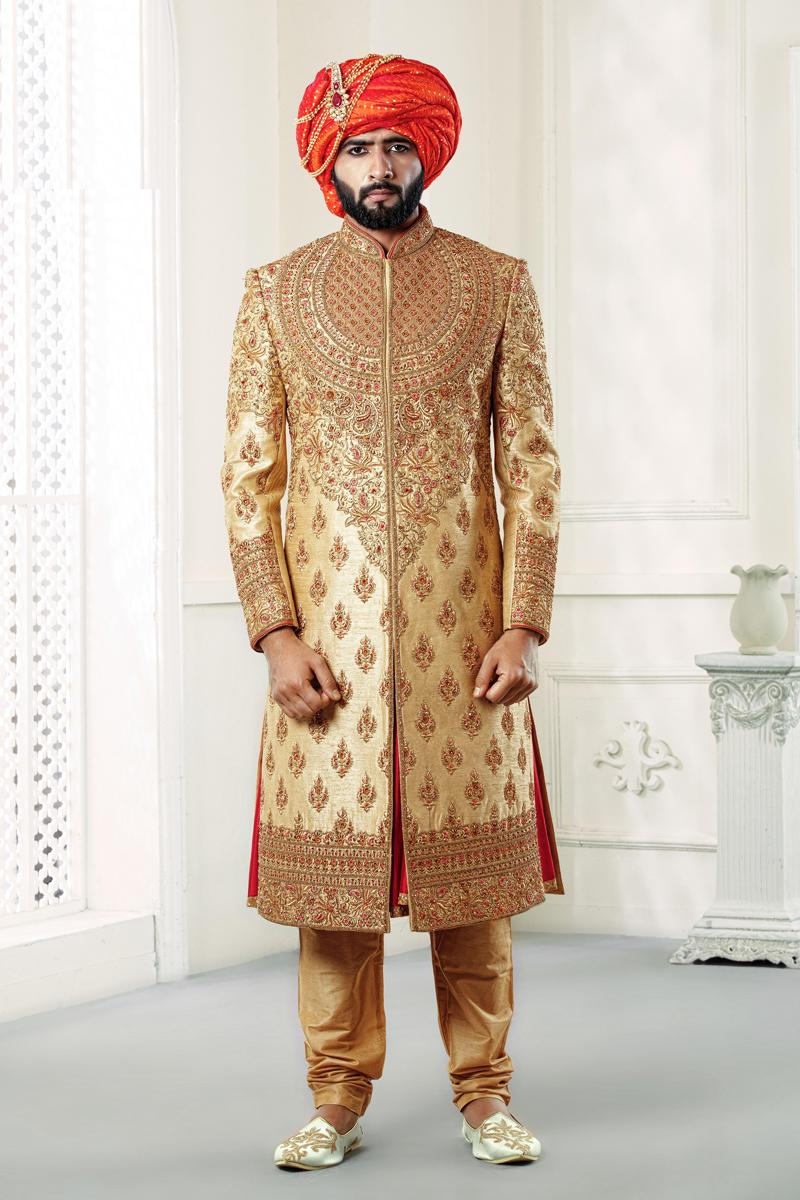 Silk Fabric Designer Indowestern Groom Sherwani