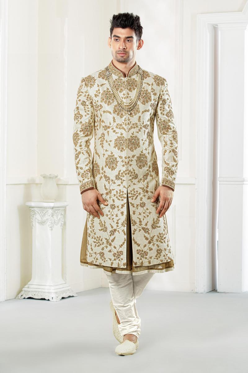 Off White Color Wedding Wear Fancy Indowestern Groom Sherwani