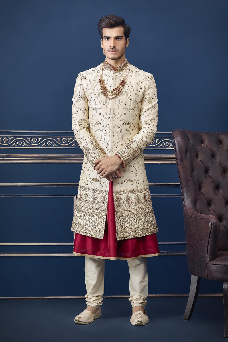 Silk Fabric Wedding Wear Stylish Indowestern Groom Sherwani In Beige Color
