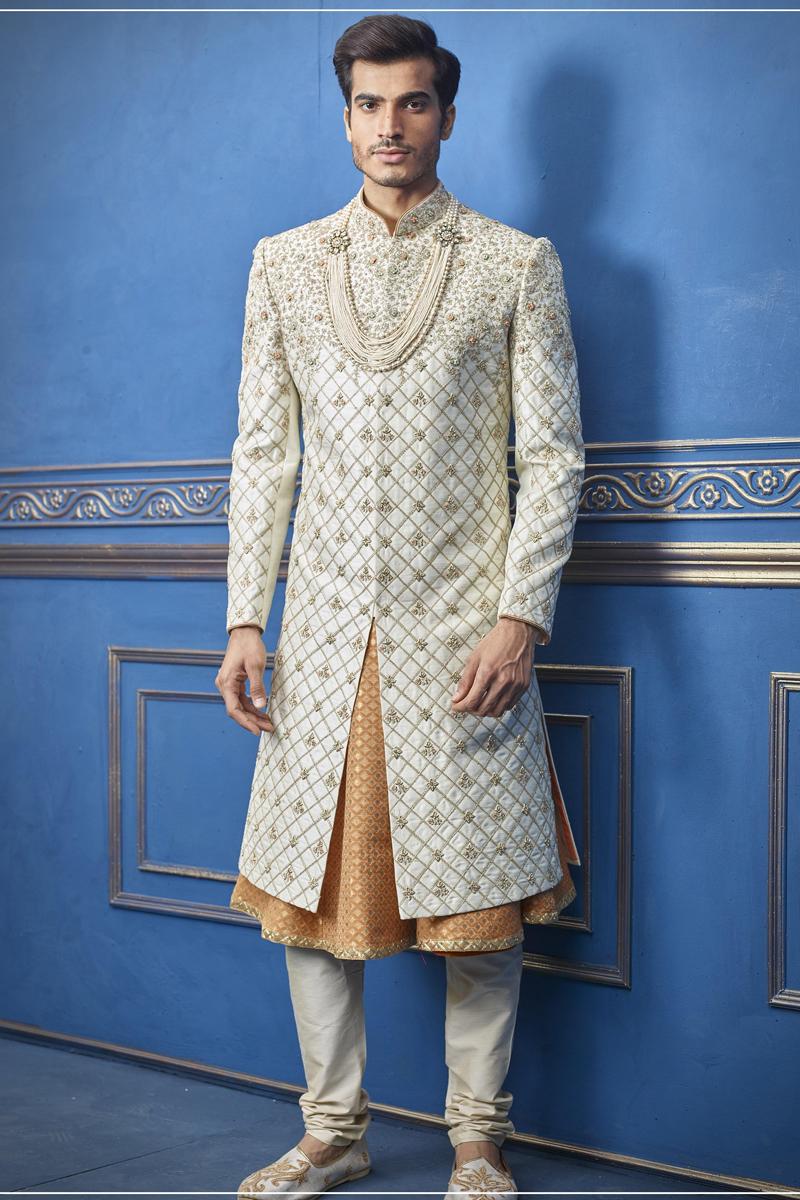 White Color Silk Fabric Wedding Wear Fancy Indowestern Groom Sherwani